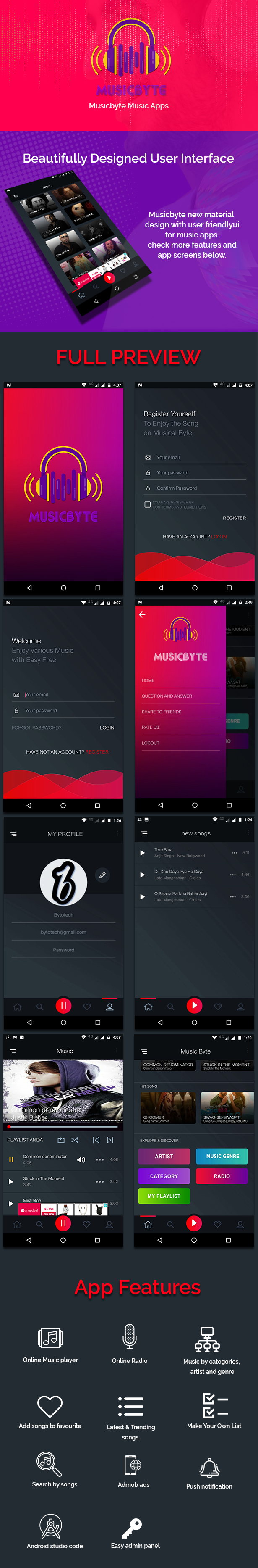 MusicByte (Android) - online Mp3 music player application - 1