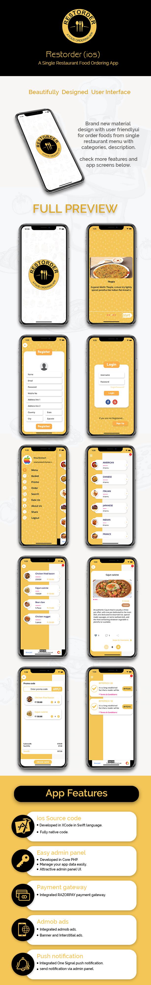 Restorder (iOS) - A single restaurant food ordering app. - 1