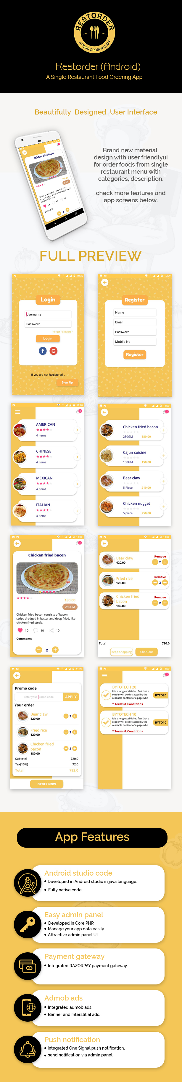 Restorder (Android) - A single restaurant food ordering app. - 2